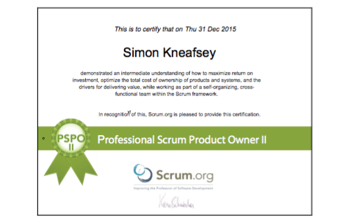 Professional Scrum Product Owner II (PSPO II)
