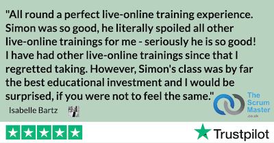All round a perfect live-online training experience. Simon was so good, he literally spoiled all other live-online trainings for me - seriously he is so good! I have had other live-online trainings since that I regretted taking. However, Simon's class was by far the best educational investment and I would be surprised, if you were not to feel the same.